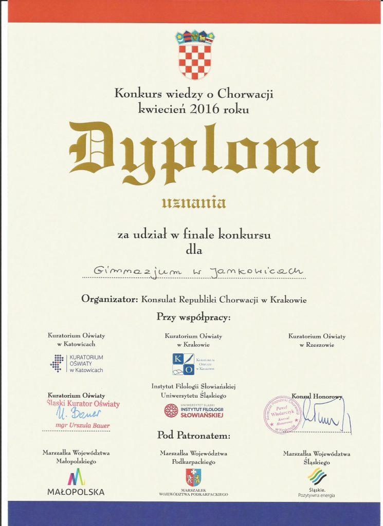 GJ Chorwacja dyplom