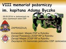 Zawody strażackie – VIII memoriał pożarniczy im. kapitana Adama Byczka