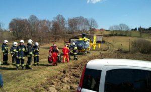Wypadek w Świerklanach. Po ranną 9-latkę przyleciał śmigłowiec LPR